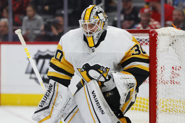FILE - In this Jan. 17, 2020, file photo, Pittsburgh Penguins goaltender Matt Murray plays against the Detroit Red Wings in the second period of an NHL hockey game in Detroit. Murray says he's focusing on the NHL's return to play, not the potential economic ramifications on the league due to the COVID-19 pandemic. (AP Photo/Paul Sancya, File)