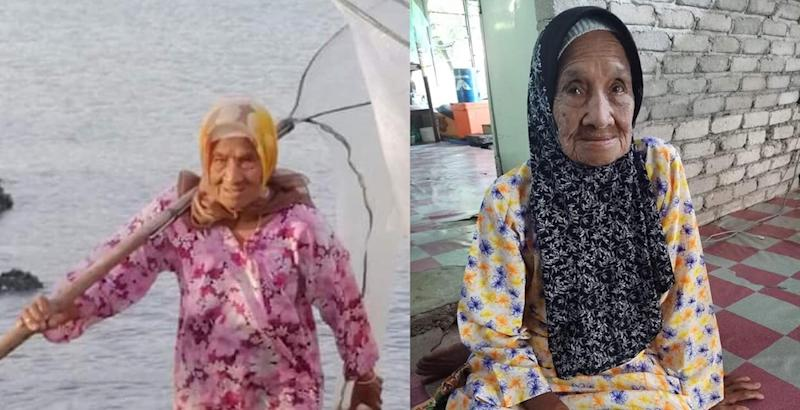 Tok Pora doesn't let her age stop her from continuing to make a living. — Pictures from Twitter/amriothmann