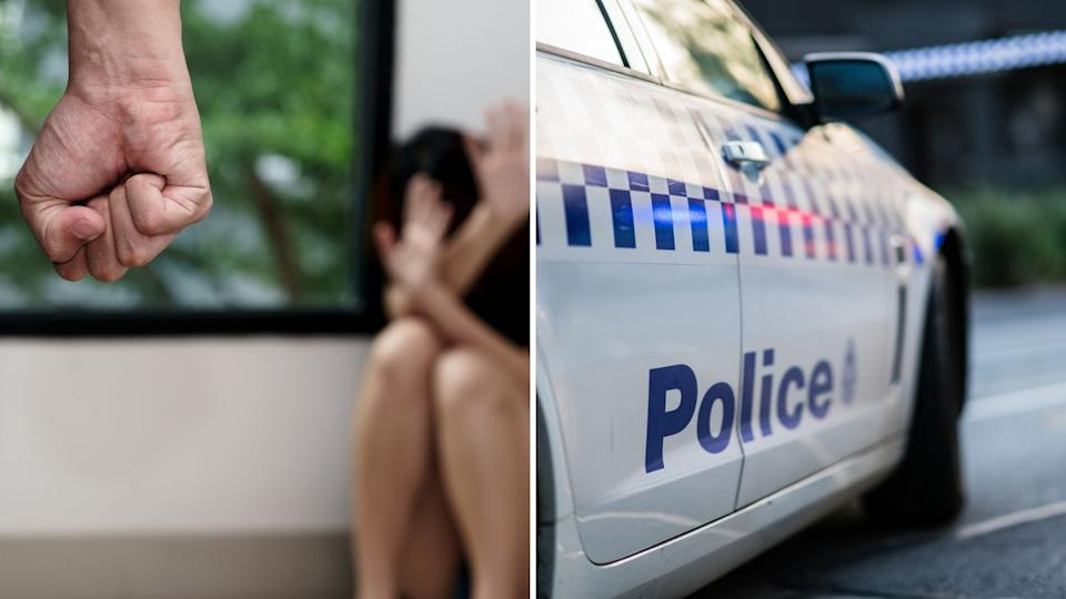 Close up of clenched fist, cowering women in background. Australian police vehicle.
