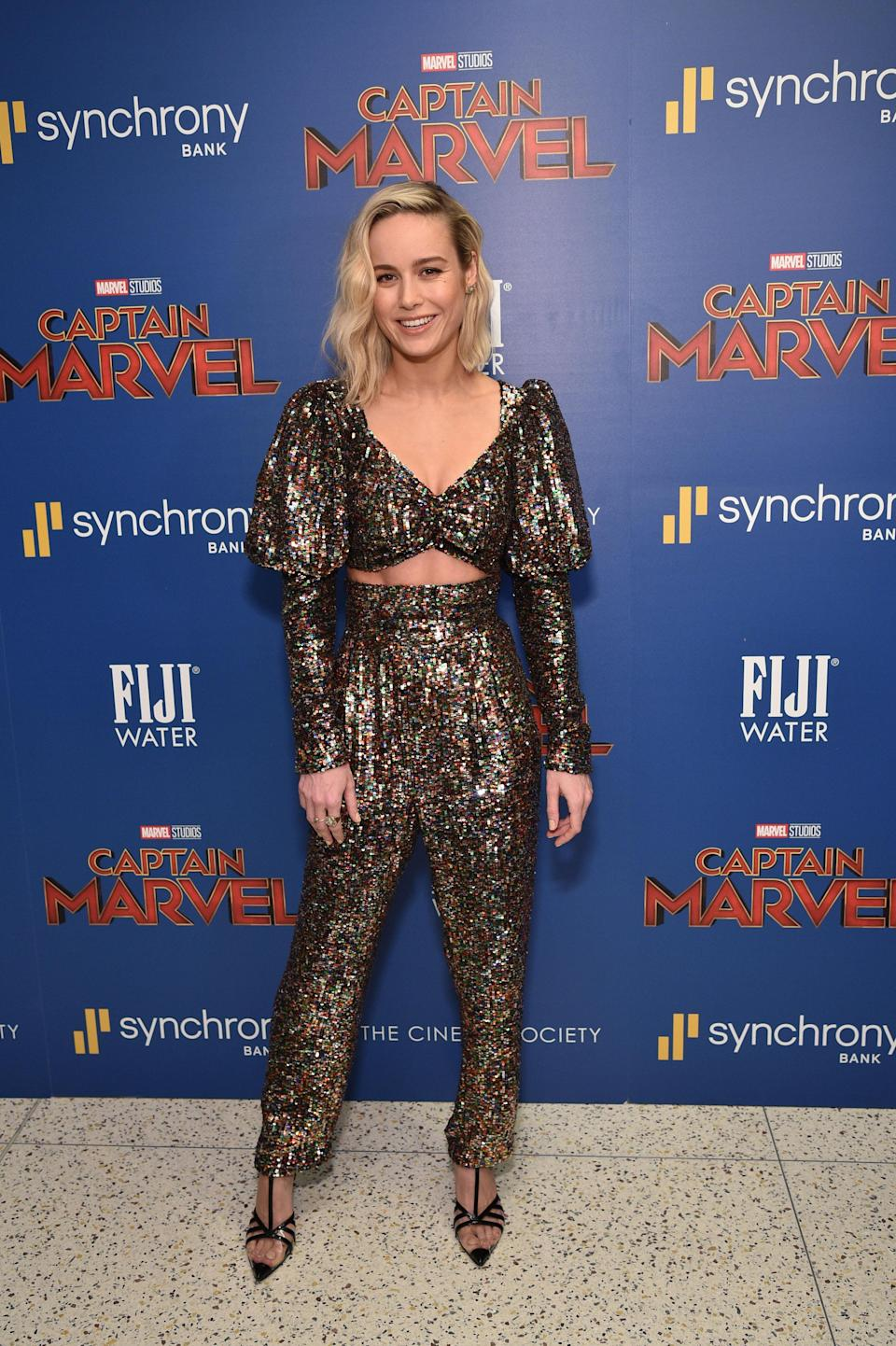<p>The 'Captain Marvel' star attending the film's New York screening wearing a Rodarte co-ordinating trouser and crop top ensemble.<em>[ Photo: Getty]</em> </p>