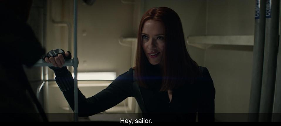 """Nat says """"Hey Sailor"""" in """"Captain America: The Winter Soldier."""""""