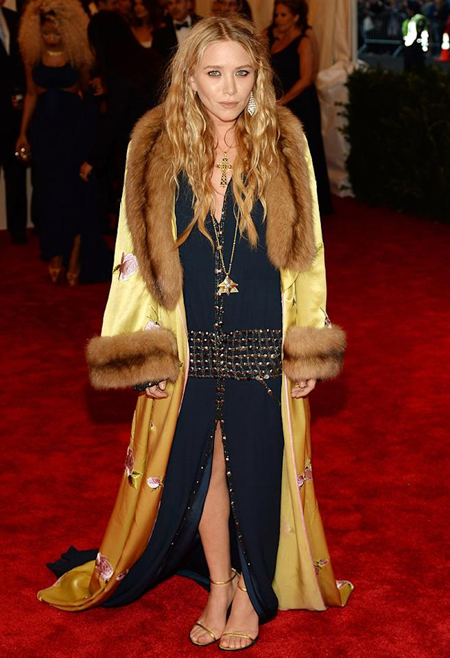 "NEW YORK, NY - MAY 06:  Mary-Kate Olsen attends the Costume Institute Gala for the ""PUNK: Chaos to Couture"" exhibition at the Metropolitan Museum of Art on May 6, 2013 in New York City.  (Photo by Dimitrios Kambouris/Getty Images)"