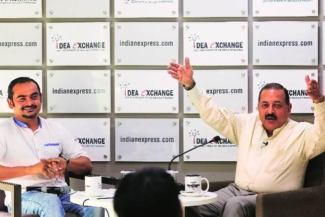 Union Minister Jitendra Singh with Senior Assistant Editor Deeptiman Tiwari in The Indian Express newsroom (Image: Abhinav Saha)