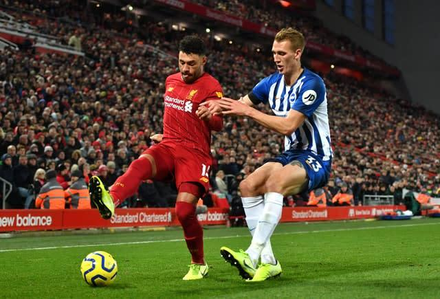 Liverpool made it 40 points from a possible 42 this season with their win over Brighton (Anthony Devlin/PA)