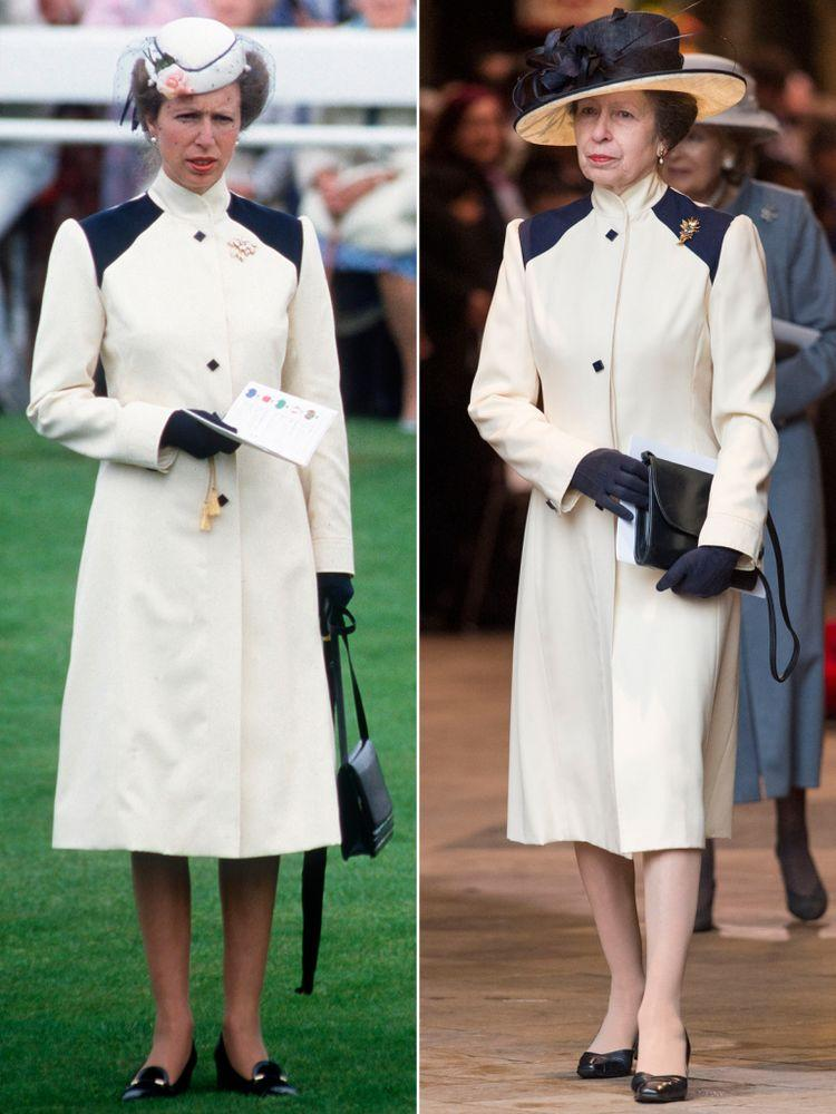 Princess Anne in 1985 (left) and in March 2018 (right)
