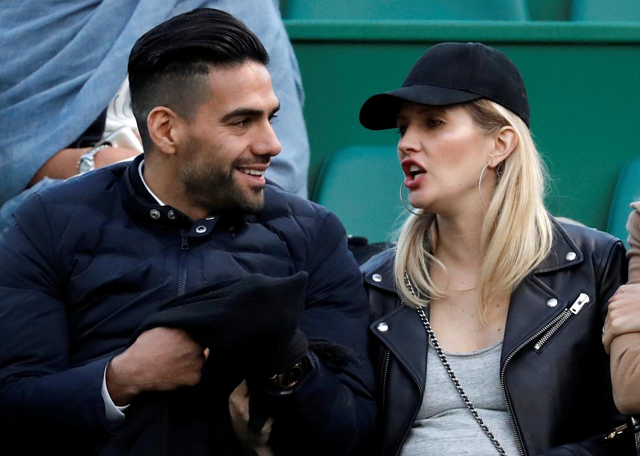 Tennis - Monte Carlo Masters - Monaco, 21/04/2017. Monaco's soccer player Radamel Falcao and his wife Lorelei Taron watch the match between Rafael Nadal of Spain and Diego Schwartzman of Argentina .      REUTERS/Eric Gaillard