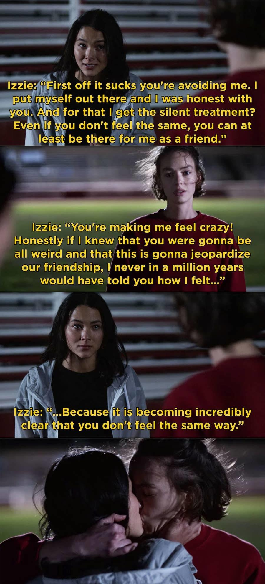 Izzie rants that she never would have told Casey how she felt if she knew it was going to ruin their friendship and that Casey obviously doesn't feel the same way, Casey kisses her