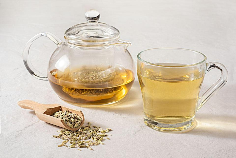 """<p>""""Steep 1⁄2 teaspoon each of cumin, coriander, and fennel seeds in a quart of boiling water; strain into a thermos and sip all day until sunset. This is an Ayurvedic remedy that helps improve digestion <a href=""""https://www.prevention.com/health/sleep-energy/a30981827/how-to-sleep/"""" rel=""""nofollow noopener"""" target=""""_blank"""" data-ylk=""""slk:and sleep"""" class=""""link rapid-noclick-resp"""">and sleep</a> and decrease <strong>palpitations, hot flashes, worry, and anxiety</strong>.""""</p><p><em>—Kavitha Chinnaiyan, M.D., cardiologist, Beaumont Health</em></p>"""