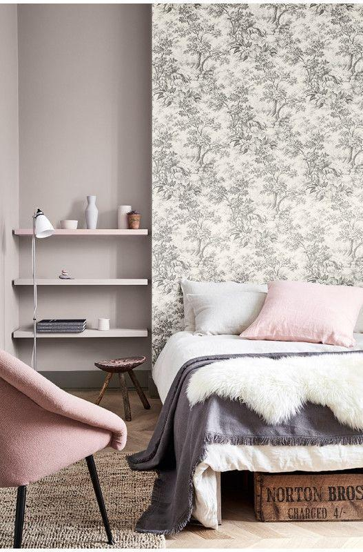 """<p>Wallpapering behind your bed is a clever way to zone a bedroom and create a cosy sleeping area. It's not just for platform beds, but it works wonderfully to create a frame in the absence of a headboard. </p><p>Pictured: <a href=""""https://www.littlegreene.com/catalog/product/view/id/25883/s/stag-toile-moss/category/43/"""" rel=""""nofollow noopener"""" target=""""_blank"""" data-ylk=""""slk:Stag Toile"""" class=""""link rapid-noclick-resp"""">Stag Toile</a>, Little Greene </p>"""