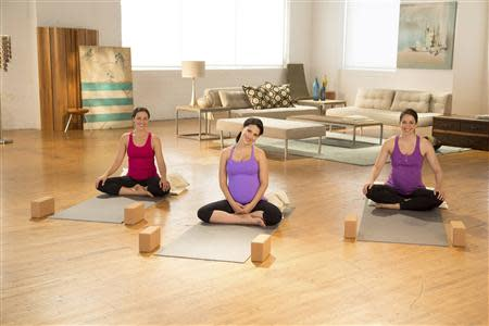 Yoga teacher and fitness expert Hilaria Baldwin is shown during a prenatalyoga class in Brooklyn, N.Y. in this handout photo