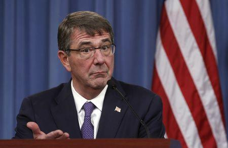 U.S. Defense Secretary Ash Carter speaks during a joint news conference following a meeting with his British counterpart Michael Fallon at the Pentagon in Washington