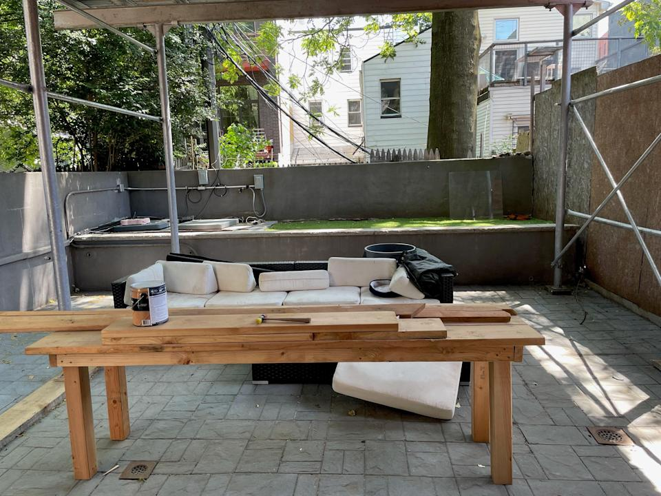 A full view of the backyard before the renovation.