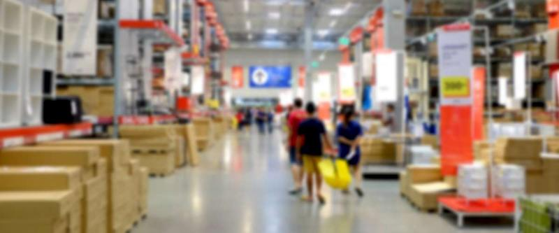 Box blurred warehouse department at hardware store