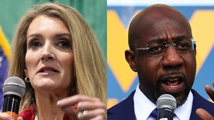 """Given that Kelly Loeffler"" — shown at left — ""has run the single most negative campaign in Georgia history, there is no level she could stoop to that would surprise us,"" said Terrence Clark, a spokesperson from the campaign of Rev. Raphael Warnock (right). (Photos by Jessica McGowan/Getty Images and Michael M. Santiago/Getty Images)"
