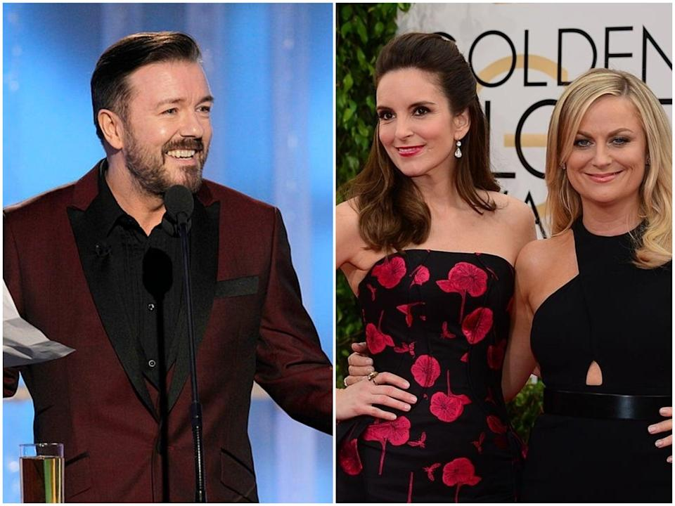 Ricky Gervais hosts the 2012 Golden Globes, and Tina Fey and Amy Poehler on the Globes red carpet in 2014 (Paul Drinkwater/NBC/Frederic J Brown/Getty Images)