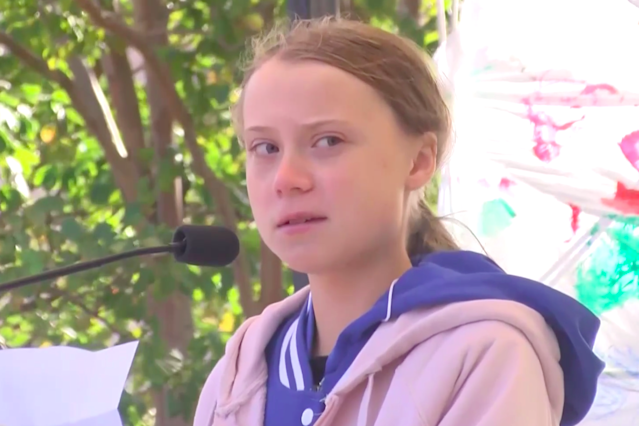 Greta Thunberg speaks at a youth climate rally in Charlotte, N.C., on Friday. (Yahoo News Video)
