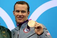 """Bronze medalist <a href=""""http://sports.yahoo.com/olympics/swimming/brendan-hansen-1133055/"""" data-ylk=""""slk:Brendan Hansen"""" class=""""link rapid-noclick-resp"""">Brendan Hansen</a> of the United States poses on the podium during the medal ceremony following the Men's 100m Breastsroke final on Day 2 of the London 2012 Olympic Games at the Aquatics Centre on July 29, 2012 in London, England. (Photo by Clive Rose/Getty Images)"""
