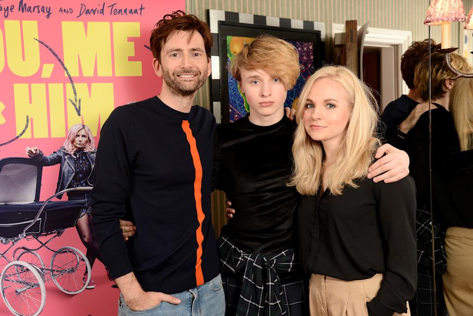 """David Tennant, Ty Tennant and producer Georgia Tennant attend a special screening of """"You, Me And Him"""" at Charlotte Street Hotel on March 29, 2018 in London, England.  (Photo by Dave J Hogan/Dave J Hogan/Getty Images)"""