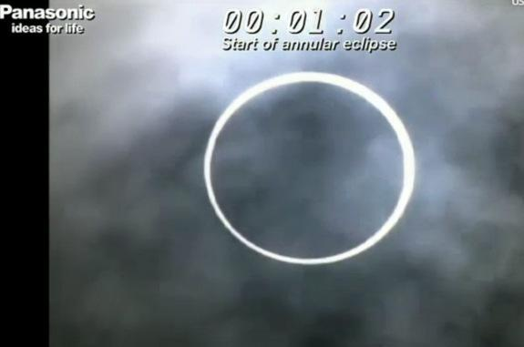 The moon blots out the sun in an annular solar eclipse as seen from the base camp of Mt. Fuji in Japan on May 20, 2012 in this still from a webcast by Panasonic Eclipse Live from Fujiyama by Solar Power, which broadcast the event live online.