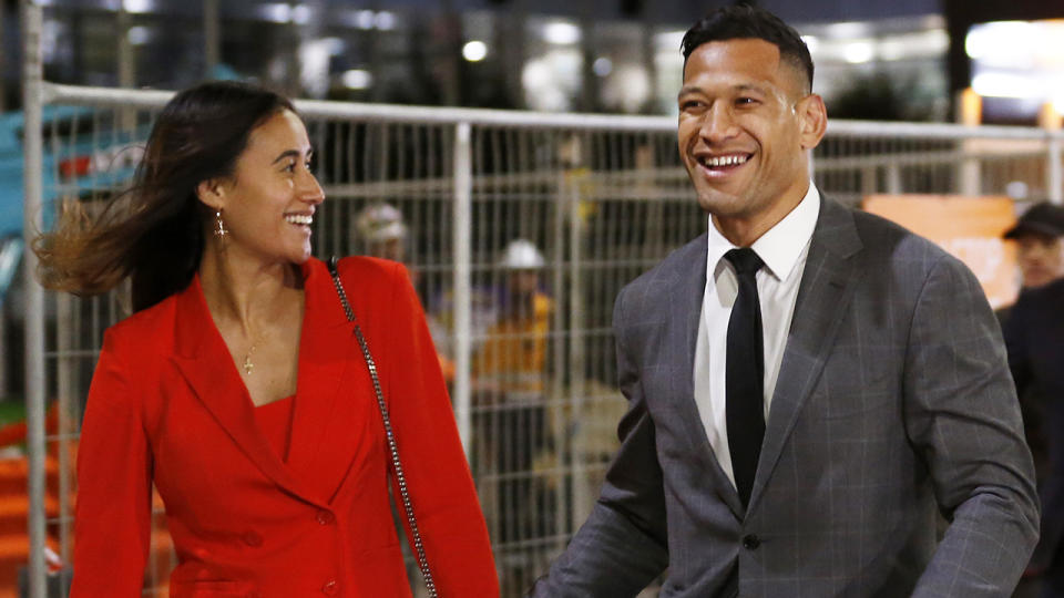 Maria and Israel Folau, pictured leaving Federal Court after arbitration with Rugby Australia.