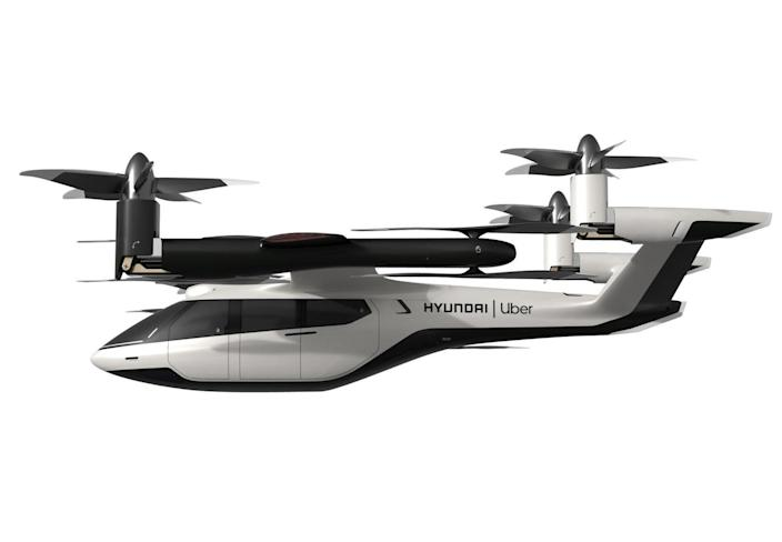 """Though luxury car companies like Aston Martin, Mercedes, and Porsche have announced partnerships to build """"air taxis,"""" we didn't expect this fully realized, four-seat, electric chopper from Hyundai. We're not sure we're ready to get into one of these giant drones just yet, or how they'll handle congested skies when swarms of them are flitting about. But it does resemble the flying car we've been promised for a century."""