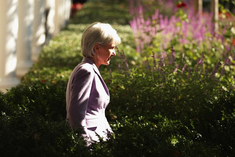 WASHINGTON, DC - OCTOBER 21: Health and Human Services Secretary Kathleen Sebelius arrives in the Rose Garden for President Barack Obama's speech about the error-plagued launch of the Affordable Care Act's online enrollment website in the Rose Garden of the White House October 21, 2013 in Washington, DC. According to the White House, the president was joined by 'consumers, small business owners, and pharmacists who have either benefitted from the health care law already or are helping consumers learn about what the law means for them and how they can get covered. 'Despite the new health care law's website problems, Obama urged Americans not to be deterred from registering for Obamacare because of the technological problems that have plagued its rollout. (Photo by Chip Somodevilla/Getty Images)