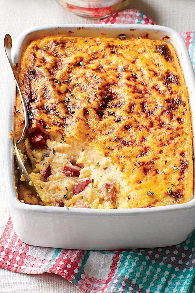 """<p><strong>Recipe: <a href=""""https://www.southernliving.com/syndication/smoky-sausage-grits-casserole"""" target=""""_blank"""">Smoky Sausage and Grits Casserole</a></strong></p> <p>You can prepare this smoked sausage and grits casserole up to four days ahead, but your guests might gobble it up in four minutes—it's that good. </p>"""