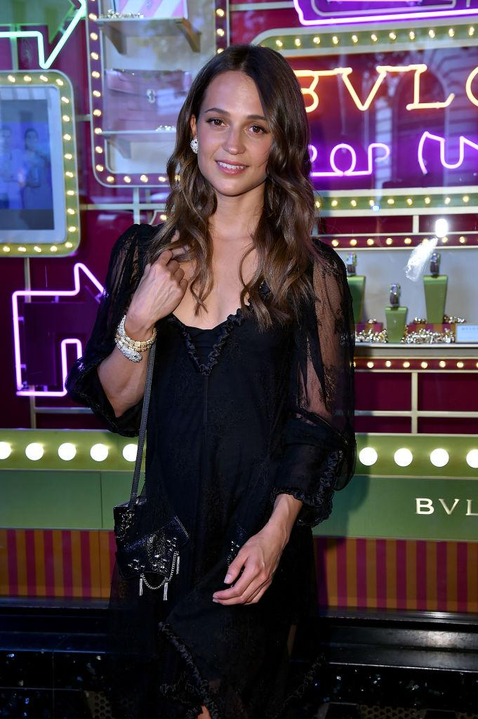 Alicia Vikander attends the Bvlgari Puo Up Store Ribbon Cutting At The Galeries Lafayette as part of Haute Couture Paris Fashion Week on July 4, 2017 in Paris, France.