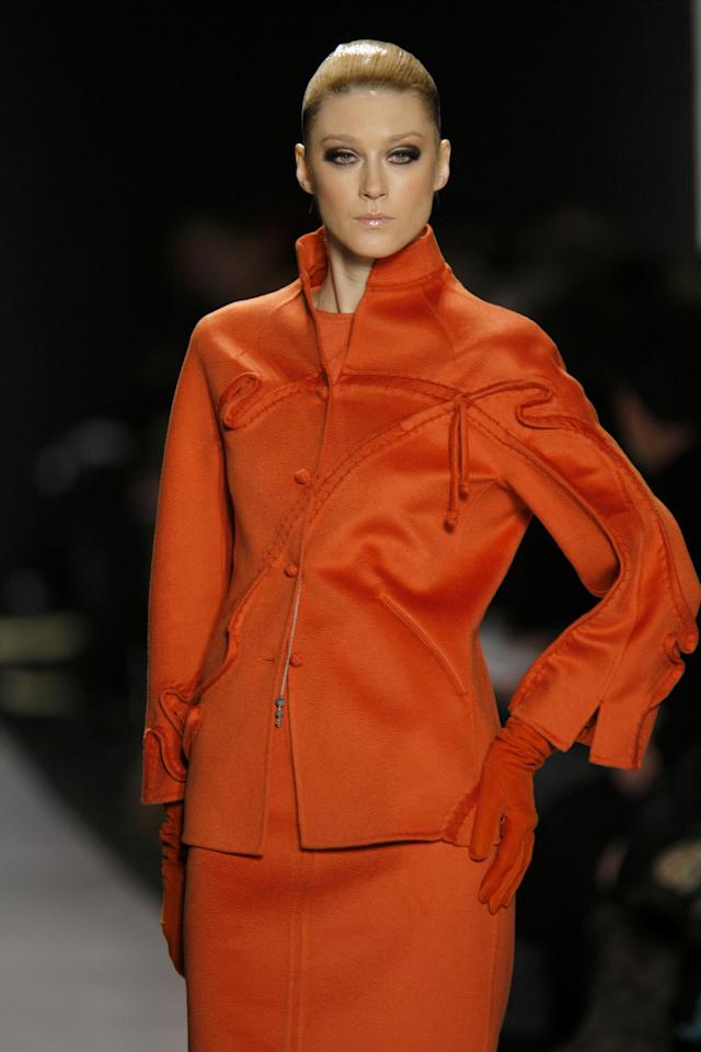 Anastassia Khozzisova wearing Chado Ralph Rucci Ready-To-Wear Fall 2007 (Photo by Randy Brooke/WireImage)