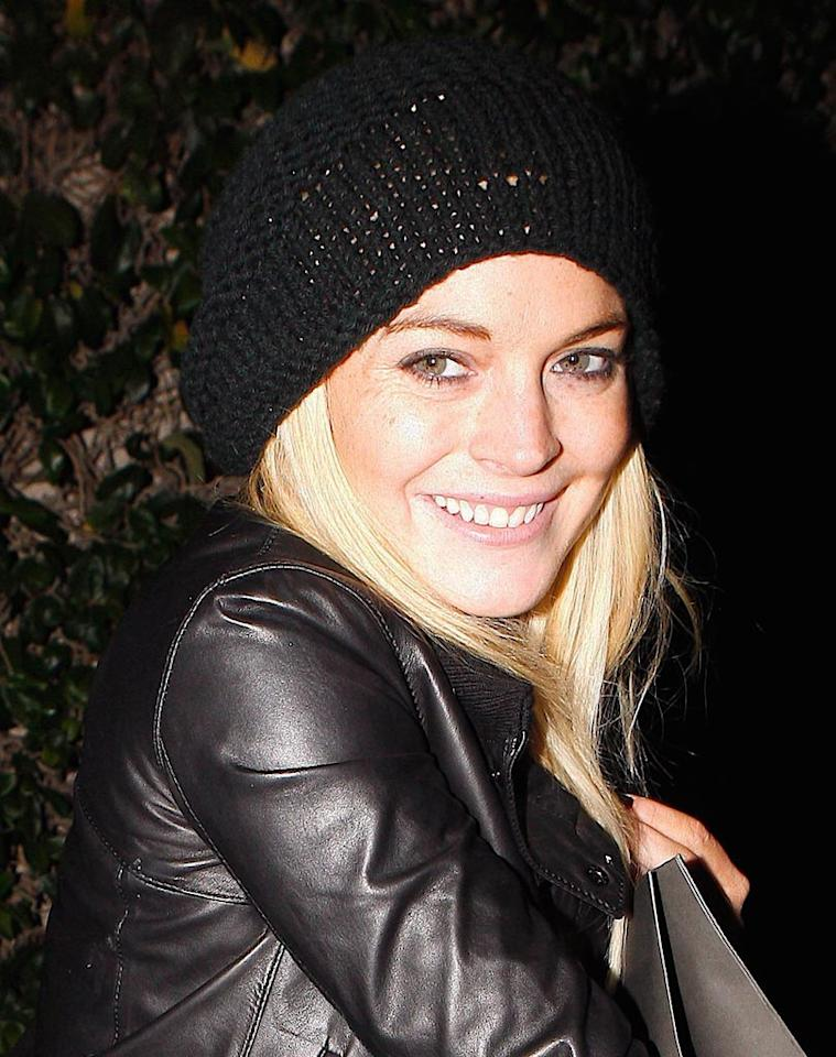 "Lindsay Lohan keeps warm in a knit cap and leather jacket while shopping in LA. Occasionally, it even gets chilly in Southern California! Maciel-Campos-Ice/<a href=""http://www.x17online.com"" target=""new"">X17 Online</a> - January 18, 2010"