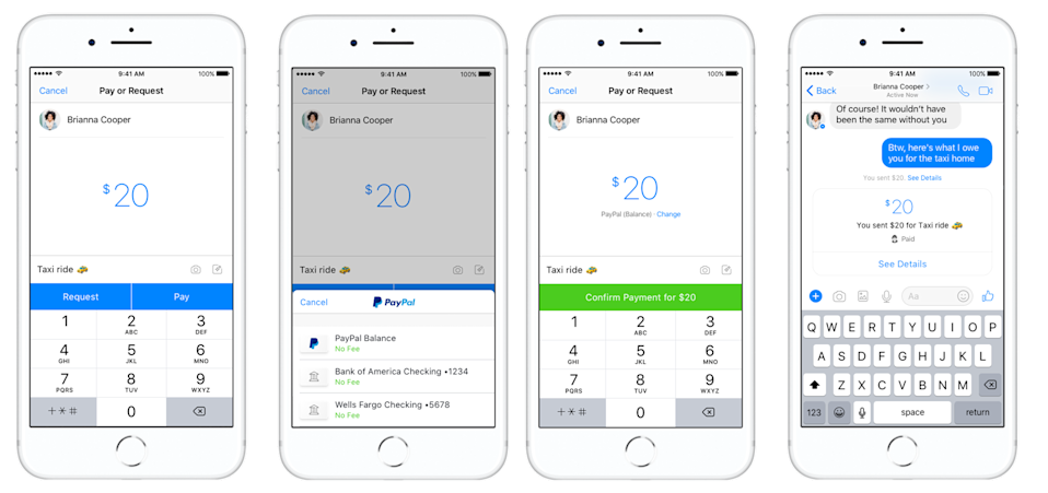 PayPal users can now send money to one another inside the Messenger app. Source: PayPal