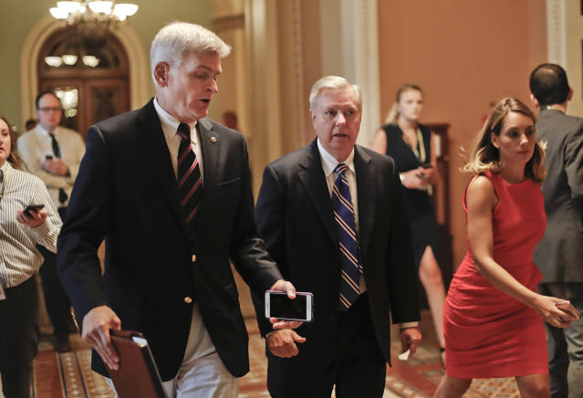 Sen. Bill Cassidy, R-La., and Sen. Lindsey Graham, R-S.C., two authors of the GOP's revised health care bill. (Photo: Pablo Martinez Monsivais/AP)