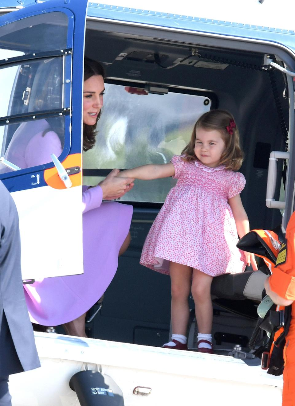 <p>Arriving in Hamburg airport on the last day of the Cambridges' official visit to Poland and Germany, Prince Charlotte got the chance to sit inside a helicopter. <br><em>[Photo: Getty]</em> </p>