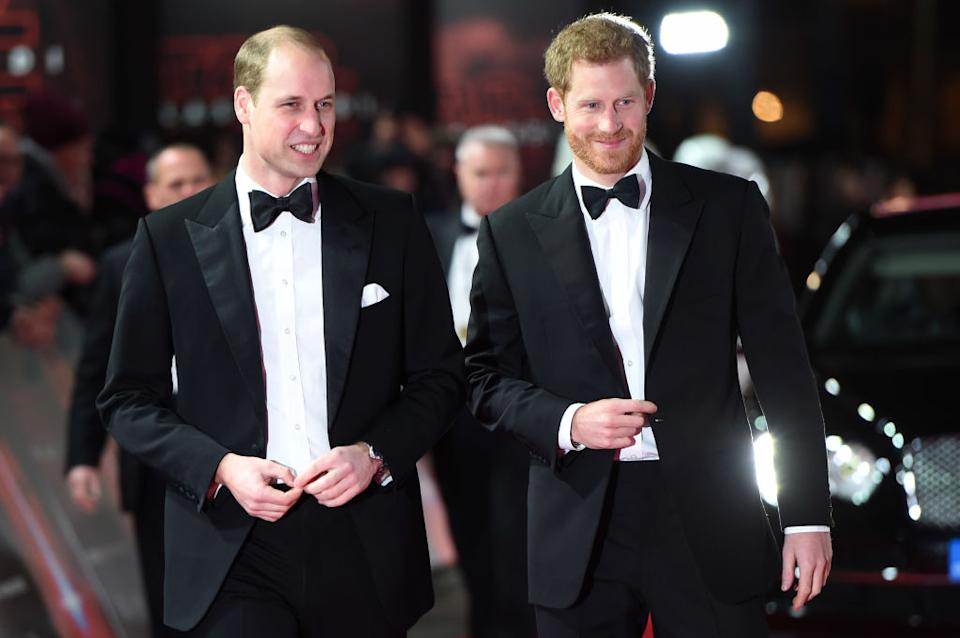 Prince Harry has revealed he has been having therapy for four years, pictured with his brother Prince William, December 12, 2017. (Getty Images)