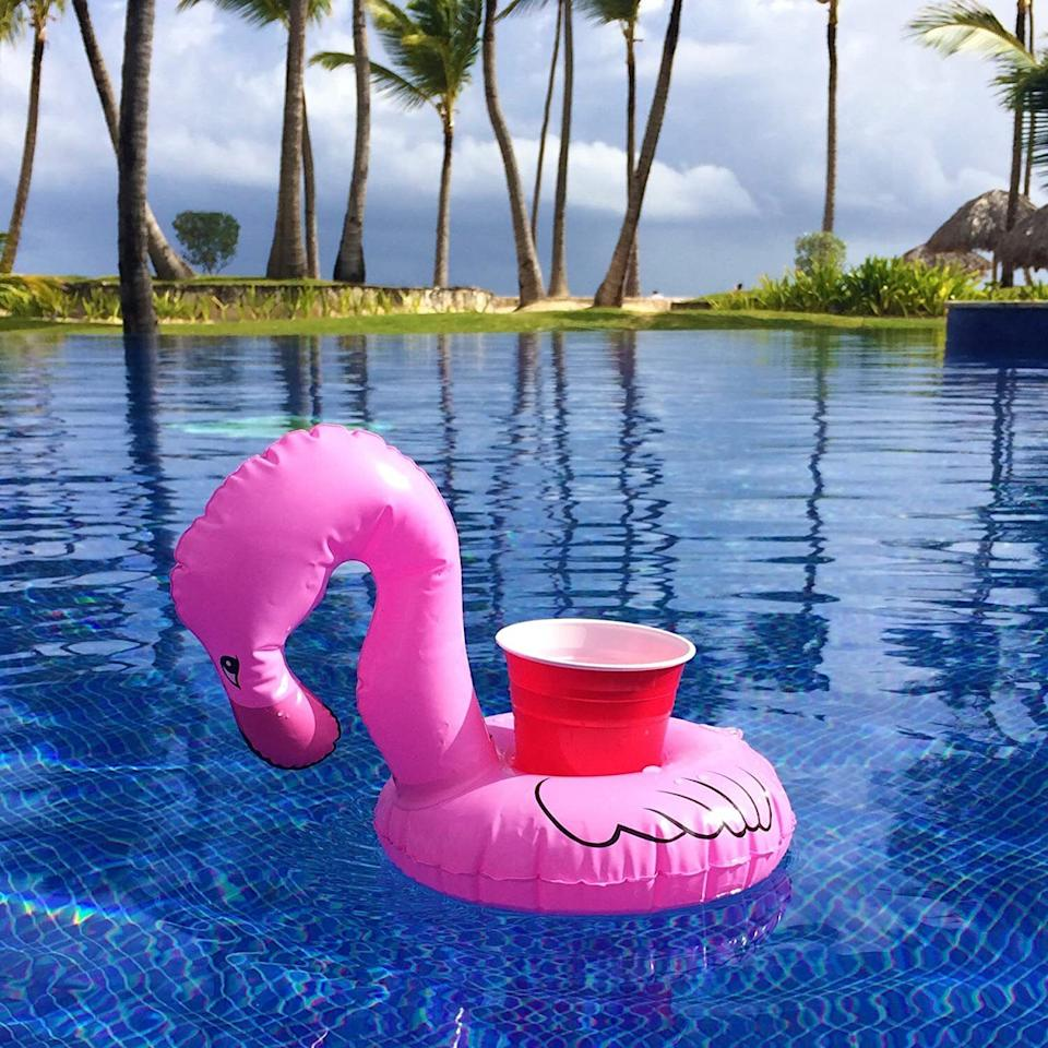 """Have happy hour while you're chillin' in the pool with this fun beverage holder that won't spill or tip over.<br /><br /><strong>Promising review:</strong>""""I love these! They work great, no tipping issues at all.<strong>These little guys just float around the pool on their own like an inflatable bartender.</strong>I found cups and cans fit perfectly snug (even with a Koozie). I leave my Koozie on my bottles for a secure fit and have never had a problem."""" —<a href=""""https://amzn.to/2QKEZgS"""" target=""""_blank"""" rel=""""nofollow noopener noreferrer"""" data-skimlinks-tracking=""""5580838"""" data-vars-affiliate=""""Amazon"""" data-vars-href=""""https://www.amazon.com/gp/customer-reviews/R1QSBLGOH5UQB6?tag=bfgenevieve-20&ascsubtag=5580838%2C4%2C33%2Cmobile_web%2C0%2C0%2C1159984"""" data-vars-keywords=""""cleaning,fast fashion"""" data-vars-link-id=""""1159984"""" data-vars-price="""""""" data-vars-product-id=""""16176708"""" data-vars-retailers=""""Amazon"""">Amazon Customer</a><br /><br /><strong>Get a set of three from Amazon for<a href=""""https://amzn.to/3enGPwd"""" target=""""_blank"""" rel=""""nofollow noopener noreferrer"""" data-skimlinks-tracking=""""5580838"""" data-vars-affiliate=""""Amazon"""" data-vars-asin=""""B06XX518TR"""" data-vars-href=""""https://www.amazon.com/dp/B06XX518TR?tag=bfgenevieve-20&ascsubtag=5580838%2C4%2C33%2Cmobile_web%2C0%2C0%2C1159955"""" data-vars-keywords=""""cleaning,fast fashion"""" data-vars-link-id=""""1159955"""" data-vars-price="""""""" data-vars-product-id=""""7967705"""" data-vars-product-img=""""https://m.media-amazon.com/images/I/41NtcWRCxDL.jpg"""" data-vars-product-title=""""GoFloats Inflatable Pool Drink Holders (3 Pack) Designed in the US 