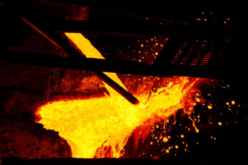 FILE PHOTO: Molten copper is poured at the KGHM copper and precious metals smelter processing plant in Glogow