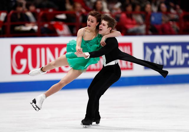 Figure Skating - World Figure Skating Championships - The Mediolanum Forum, Milan, Italy - March 24, 2018 Canada's Carolane Soucisse and Shane Firus during the Ice Dance Free Dance REUTERS/Alessandro Garofalo