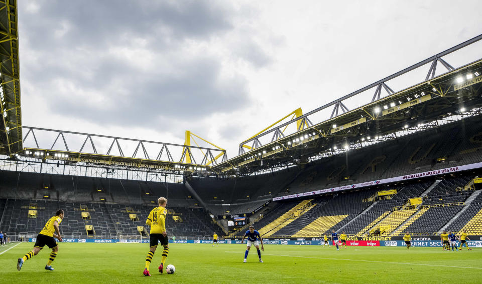 Borussia Dortmund danced past Schalke at an empty Signal Iduna Park, the start of what the Bundesliga hopes will be a successful finish to the season. (Photo by Alexandre Simoes/Borussia Dortmund via Getty Images)