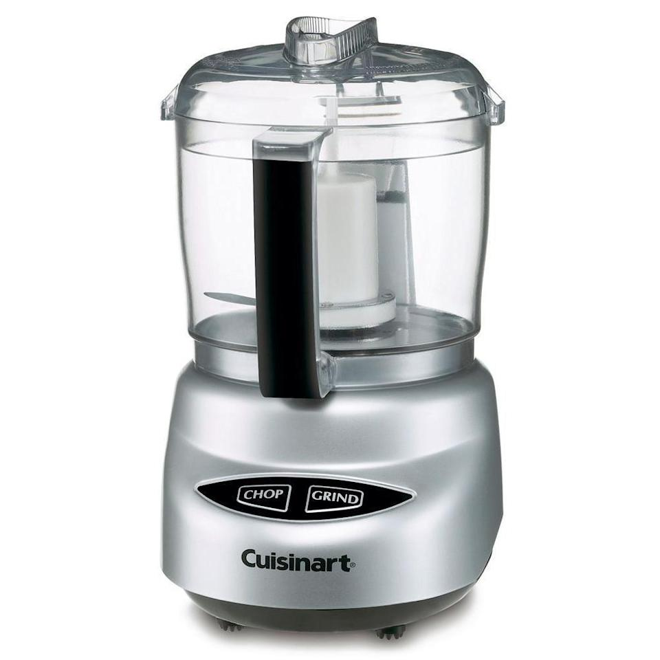 """<p><strong>Cuisinart</strong></p><p>amazon.com</p><p><strong>$40.37</strong></p><p><a href=""""https://www.amazon.com/dp/B0000645YM?tag=syn-yahoo-20&ascsubtag=%5Bartid%7C1782.g.4446%5Bsrc%7Cyahoo-us"""" rel=""""nofollow noopener"""" target=""""_blank"""" data-ylk=""""slk:BUY NOW"""" class=""""link rapid-noclick-resp"""">BUY NOW</a></p><p>Similarly, this is a great option for those with small spaces or who just want a smaller model for mini batches and sauces. It will fit three cups of food, comes with a spatula, and has a dishwasher-safe bowl. You can get it in the classic silver, yellow, red, pink, and white.</p>"""
