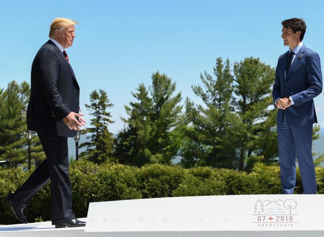 <p>President Donald Trump (L) is greeted by Canadian Prime Minister Justin Trudeau during the G7 Summit in La Malbaie, Quebec, Canada, June 8, 2018. (Photo: Saul Loeb/AFP/Getty Images) </p>