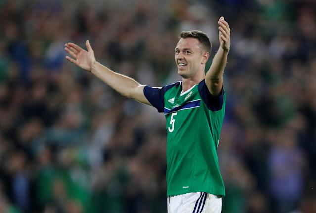 Soccer Football - 2018 World Cup Qualifications - Europe - Northern Ireland vs Czech Republic - Belfast, Britain - September 4, 2017 Northern Ireland's Jonny Evans celebrates after the match Action Images via Reuters/Matthew Childs