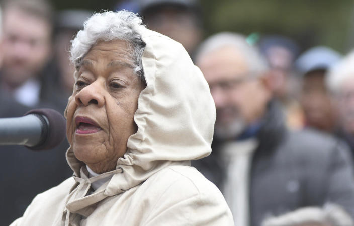 Dr. Bertha Boykins Todd speaks during a dedication ceremony for a new North Carolina highway historical marker to the 1898 Wilmington Coup in Wilmington, N.C., Friday, Nov. 8, 2019. The marker stands outside the Wilmington Light Infantry building, the location where in 1898, white Democrats violently overthrew the fusion government of legitimately elected blacks and white Republicans in Wilmington. (Matt Born/The Star-News via AP)