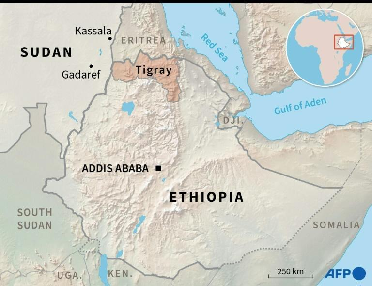 Map of Ethiopia and Sudan locating the Ethiopian region of Tigray and the Sudanese towns of Kassala and Gadaref