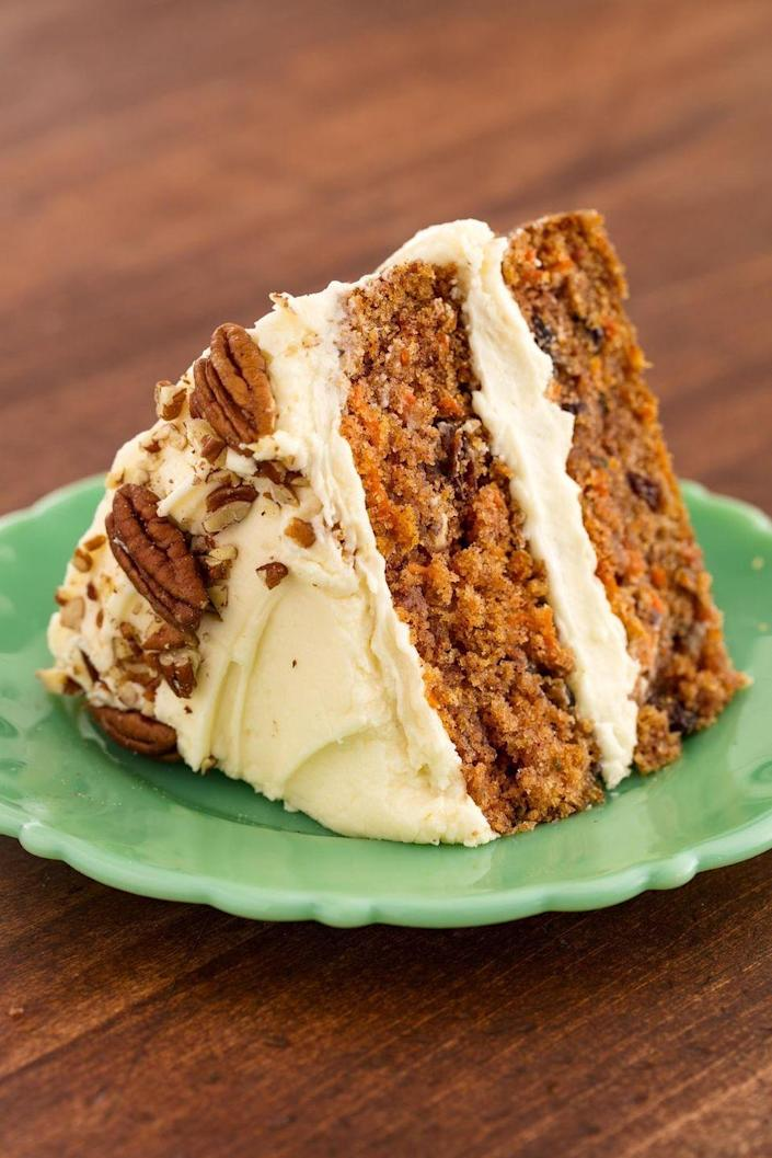 """<p>If your mother is a classic carrot cake kind of woman, this will be the dessert of her dreams.</p><p><strong><em>Get the recipe at <a href=""""https://www.delish.com/cooking/recipe-ideas/recipes/a58283/best-carrot-cake-recipe/"""" rel=""""nofollow noopener"""" target=""""_blank"""" data-ylk=""""slk:Delish"""" class=""""link rapid-noclick-resp"""">Delish</a>. </em></strong></p>"""