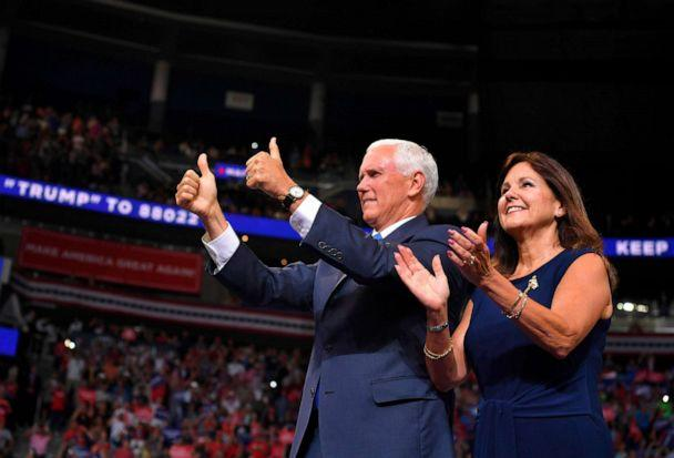 PHOTO: Vice President Mike Pence and Karen Pence arrive at a rally for US President Donald Trump, to officially launch the Trump 2020 campaign, at the Amway Center in Orlando, Fla., June 18, 2019. (Mandel Ngan/AFP/Getty Images)