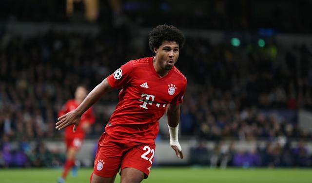 Serge Gnabry scored four goals as Bayern Munich routed Tottenham Hotspur in the Champions League on Tuesday. (Getty)