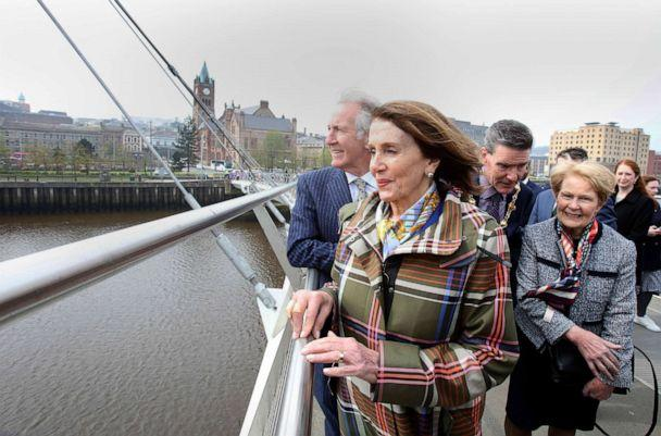 PHOTO: Speaker of the House Nancy Pelosi and Congressman Richard Neal, left, walk along the Peace Bridge in Derry (Londonderry), Northern Ireland, April 18, 2019. (Paul Faith/AFP/Getty Images, FILE)