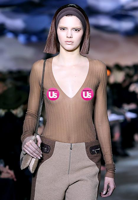 Kendall Jenner Goes Braless, Models Sheer Top, Bleached Eyebrows at Fashion Week: Picture