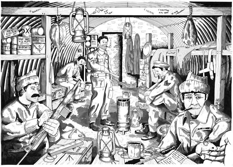 An artist's impression of what life was like inside the bunker. (SWNS)