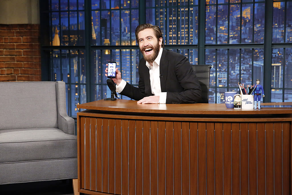 """<p>On <i>Late Night With Seth Meyers</i>, Gyllenhaal used FaceTime to prove that he and <i>Life</i> co-star Ryan Reynolds are friends, after the host suggested they weren't. Obviously, Meyers hasn't been keeping up with the actors on <a rel=""""nofollow"""" href=""""https://www.yahoo.com/celebrity/ryan-reynolds-and-jake-gyllenhaal-are-having-the-best-time-ever-on-the-life-press-tour-221709510.html"""">their press tour</a>! (Photo: Lloyd Bishop/NBC/NBCU Photo Bank via Getty Images) </p>"""